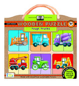 green start wooden puzzles: tough trucks