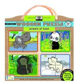 green start wooden puzzles: animals at home