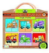 green start wooden puzzles: tough trucks
