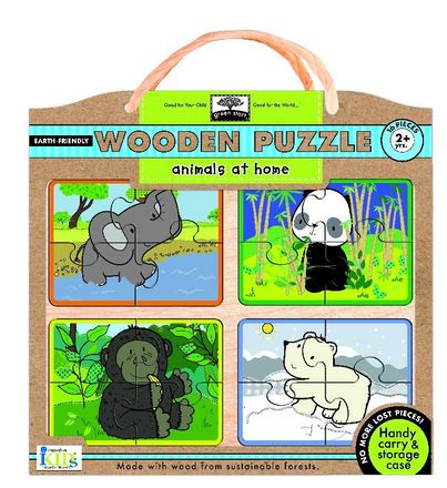 green start wooden puzzles: animals at home picture