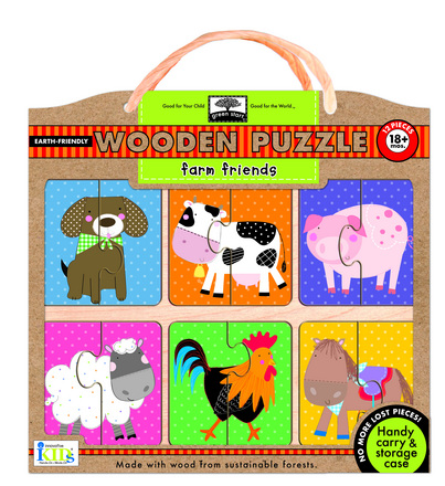 green start wooden puzzles: farm friends picture