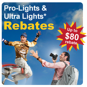 Rebates on select Pro-Light & Ultra-Light Models - Up to $80 back!