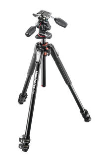 190 kit - alu 3-section horiz. column tripod + 3 way head