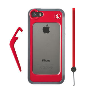 BUMPER POUR IPHONE 5/5S ROUGE + CHEVALET + DRAGONNE