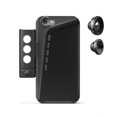 Black Case for iPhone 6P+2 lenses+SMT LED with tripod mount