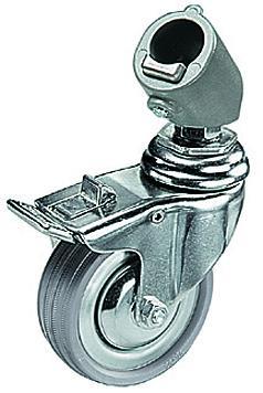 Caster Set of 3 (75mm) w/Brakes f/All 22mm Leg Diameters