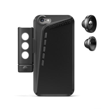 Black Case for iPhone 6+2 lenses+SMT LED with tripod mount