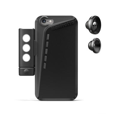 Black Case for iPhone 6+2 lenses+SMT LED with tripod mount