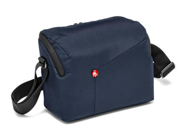 Blue Shoulder Bag for DSLR camera with additional lens