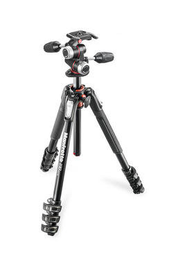 190 kit - alu 4-section horiz. column tripod + 3 way head