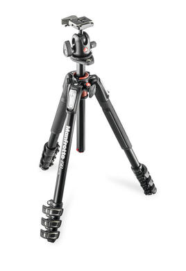 190 kit - alu 4-section horiz. column tripod + ball head