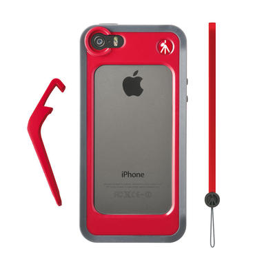 Red Bumper for iPhone 5/5S + kickstand + hand-wrist strap