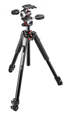 055 kit - alu 3-section horiz. column tripod + 3 way head