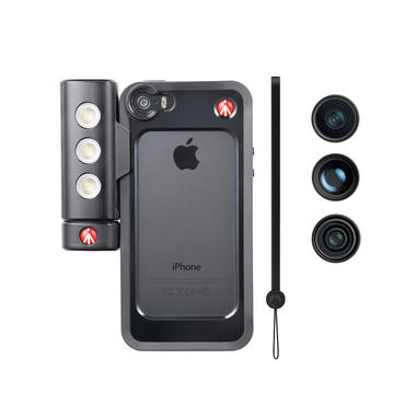 Kit per iPhone 5/5s con tre lenti + luce LED + bumper nero