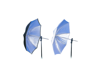 32'' Compact Dual-Duty Umbrella - Black/White