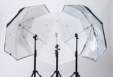 "28"" All In One Fiberglass Umbrella, Translucent, White & Sil"