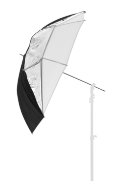 "39"" All In One Fiberglass Umbrella, Translucent, White & Sil"