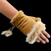 Texting Gloves Faux Fur Camel