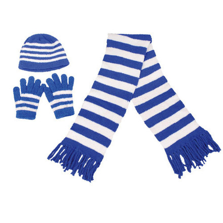 Scarf Hat Glove Set Fanwear Blue/White picture