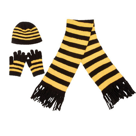 Scarf Hat Glove Set Fanwear Black/Gold picture
