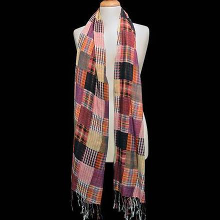 Scarf Patchwork Plaid Pink picture