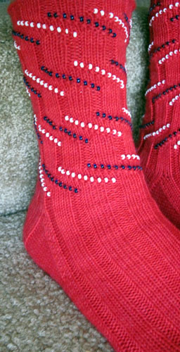 Patriotic Bead Striped Sock e-Pattern picture