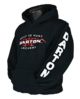Black Hooded Sweatshirt Loud and Proud with Hard Metal Darton Logo front, back & sleeves