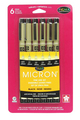 Pigma Micron, 6 point sizes set, BLACK ink