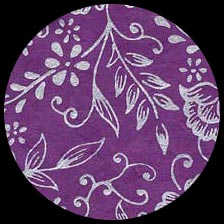 Nepalese Screenprinted Lokta Paper - Floral - Silver on Violet   20 x 30 picture