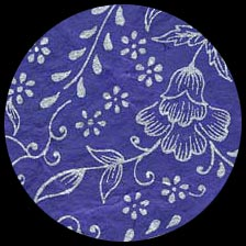 Nepalese Screenprinted Lokta Paper - Floral - Silver on Blue   20 x 30 picture
