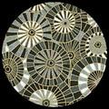 "Japanese Yuzen Print Half Sheet - Black/Grey/Gold Umbrellas   25"" x 19"""