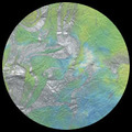 """Thai Marbled Momi-Lime/Turquoise/Silver """"Caribbean Breeze"""" 24"""" x 36"""""""