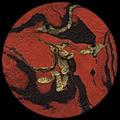 """Marbled Lokta-Gold/Black on Red 20"""" x 30"""""""