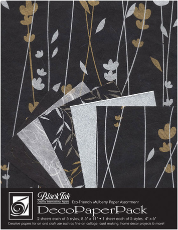 "Deco Paper Pack Large-8.5"" x 11"" Meadow Flowers–Black picture"