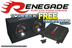 RENEGADE GTR1202 12&quot; Sub Box w/ FREE 1000 Watt Amp