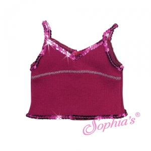 Berry Ribbed Tank with Sequin Trim picture