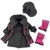 Gray Wool Coat, Plaid Scarf & Wool Hat