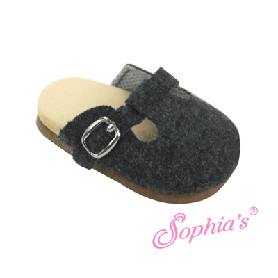 Gray Wool Buckle Clogs picture