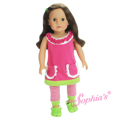 A-Line Ruffle Dress & Striped Leggings Set picture