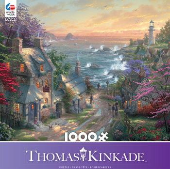 Thomas Kinkade 1000 Piece - The Village Light house picture