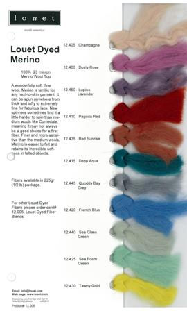 Louet Dyed Merino Fiber Sample Card picture