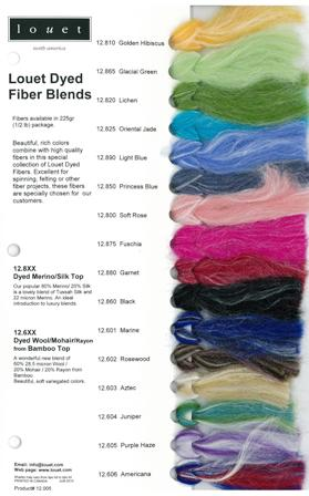 Louet Dyed Fiber Blends - Sample Card picture