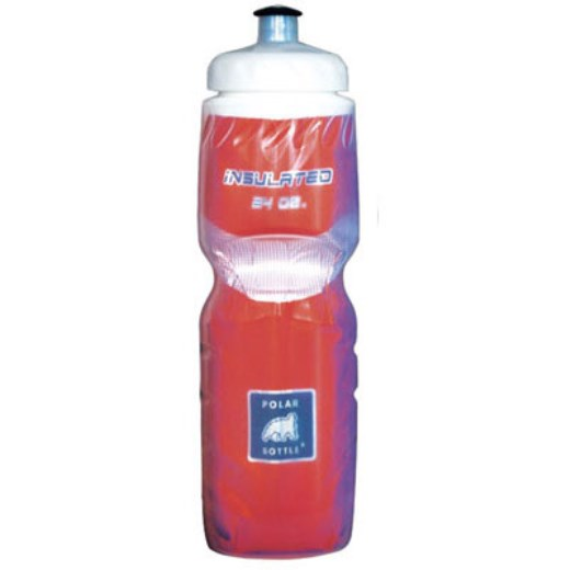 Polar Bottle Insulated Water Bottle 24 oz Clear w/ Red Foil