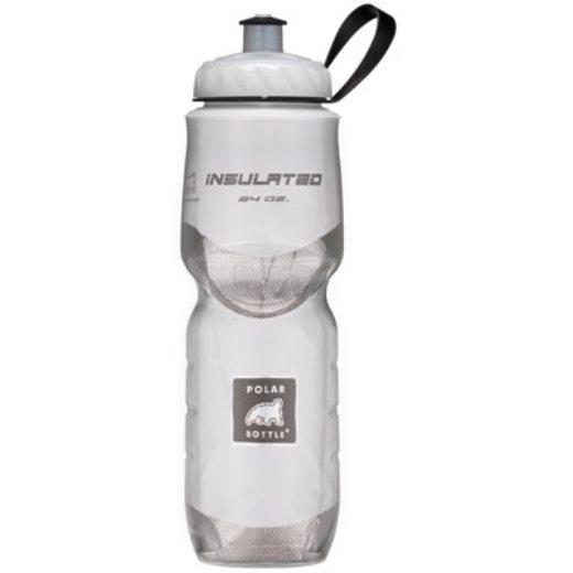Polar Bottle Insulated Water Bottle 24 oz Clear w/ White Foil