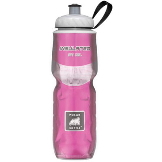 Polar Bottle Water Bottle 24oz Clear w/ Pink Foil