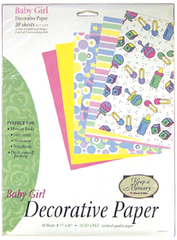Baby Girl Decorative Paper Pack (6 packs included) picture