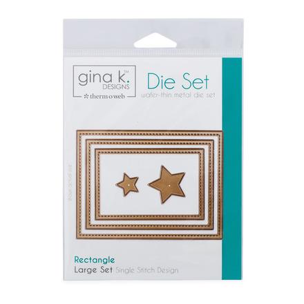 Gina K. Designs (3) Nested Rectangle Dies • Single Stitch Design • Large Set picture