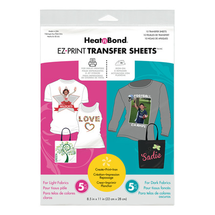 HeatnBond EZ Print Inkjet Combo Pack Transfer Sheets • For Light & Dark  Colord Fabrics picture