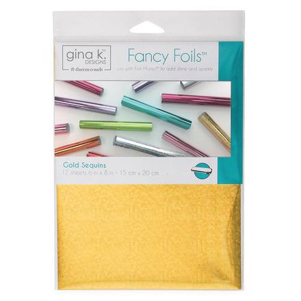 "Gina K. Designs Fancy Foils™ 6"" x 8"" • Gold Sequins picture"