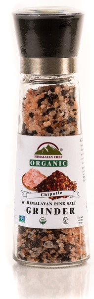 Blend Of Organic Chipotle With Himalayan Pink Salt in an Adjustable & Refillable Glass Grinder picture